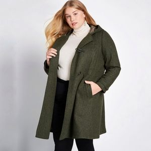 Modcloth Set For the Solstice coat green wool 3X